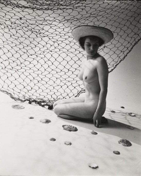 Zoltan Glass. Nude study,woman and fishing net 1960s. Via memoryprints