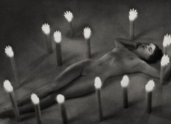 Zoltan Glass. Surreal nude with candle. Occult photo 1950s. Via ebay