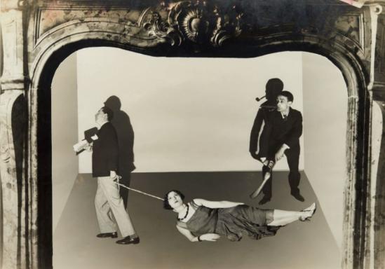 Antonin Artaud et Eli Lotar. Sur la photo Roger Vitrac, Josette Lusson et Antonin Artaud. Photomontage 1929-1930. Via drouot
