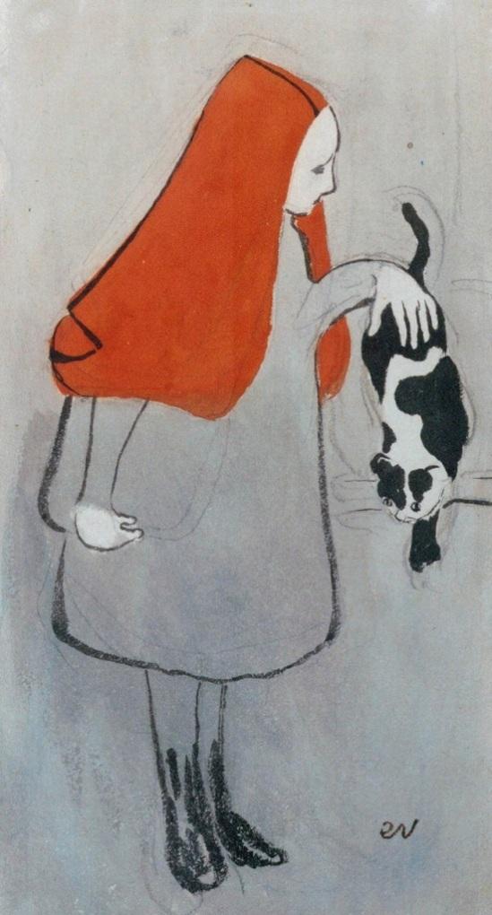 Edouard Vuillard. Jeune fille au chat 1891