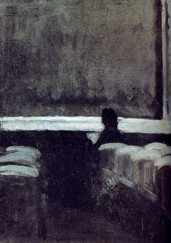 Edward Hopper. Solitary figure in theater 1902