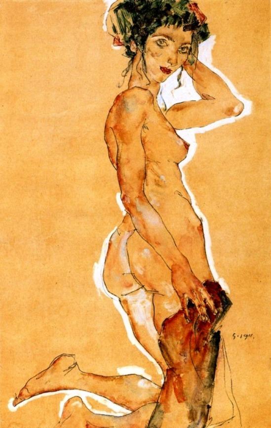Egon Schiele. Kneeling nude 1911