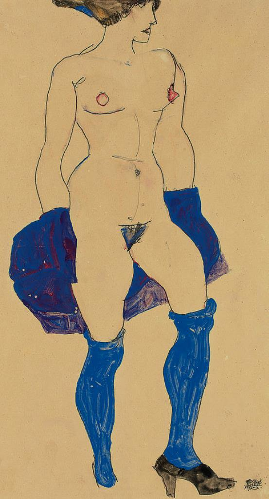 Egon Schiele. Standing woman with shoes and stockings