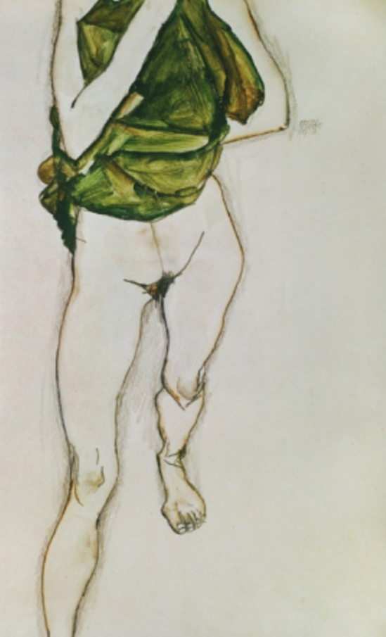 Egon Schiele. Striding torso in green shirt 1913