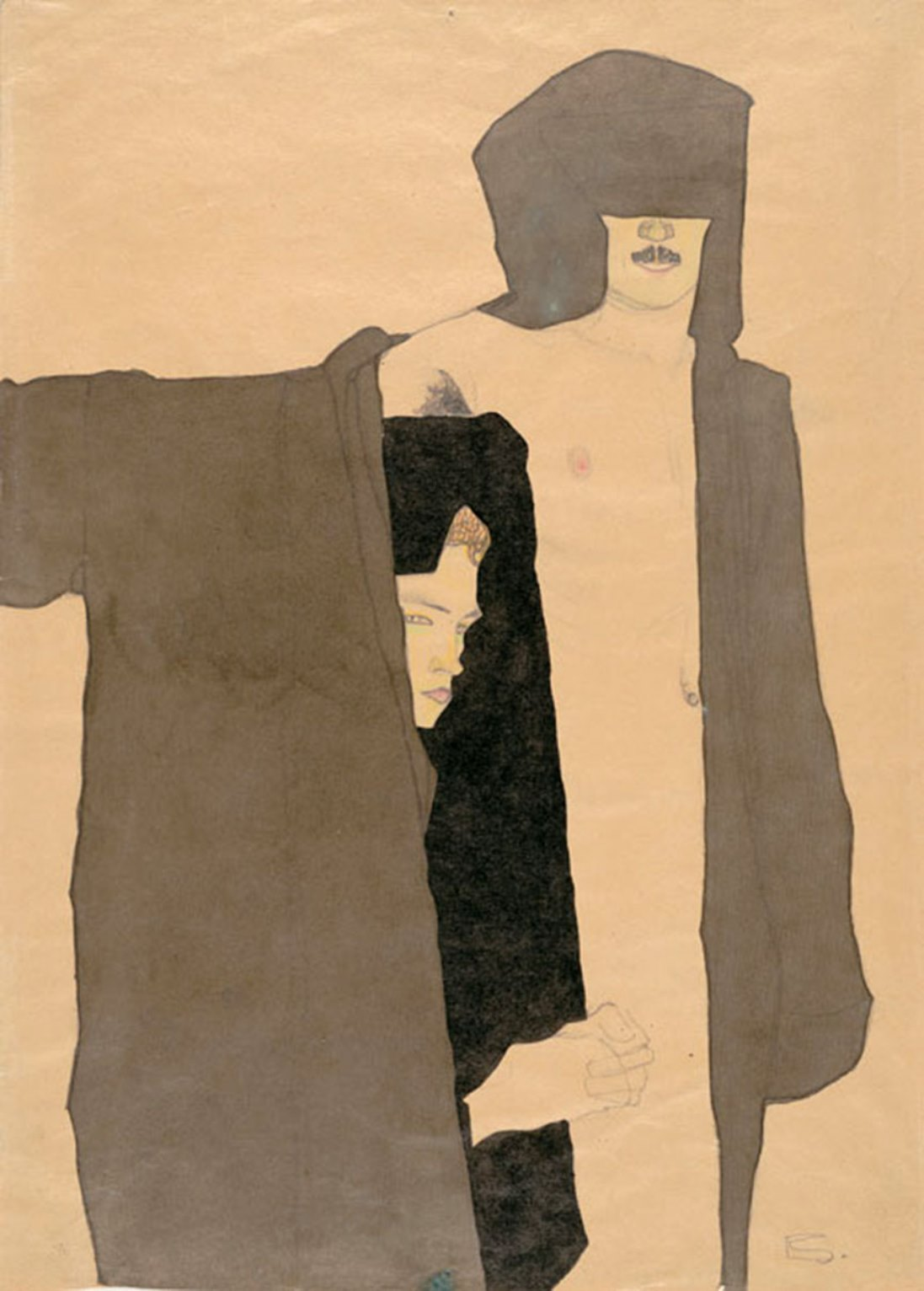 EgonEgon  Schiele. Couple 1909. Graphite, ink, crayon, and wash on paper