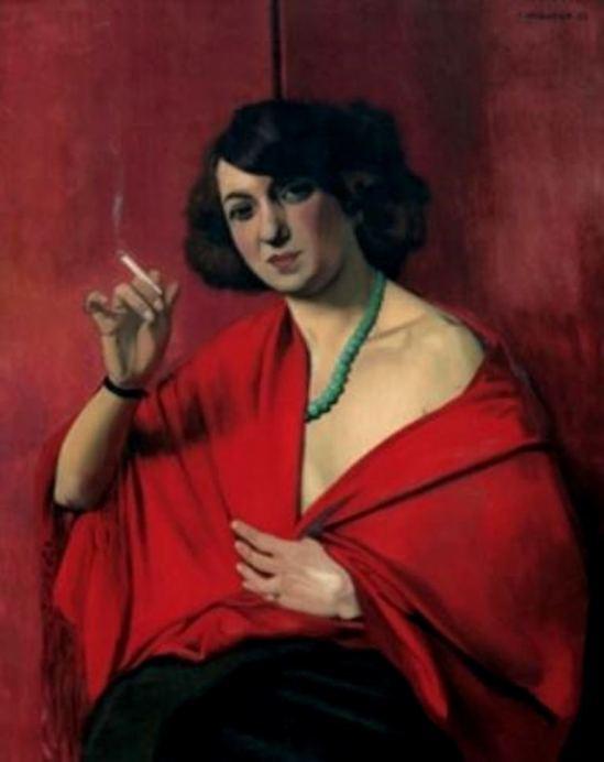 Félix Vallotton. Femme drapée de rouge tenant une cigarette 1922