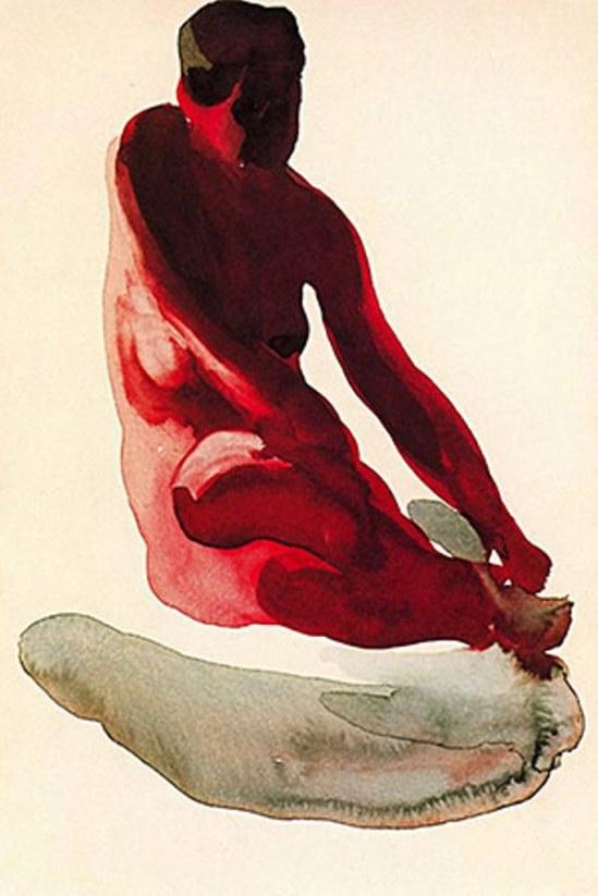 Georgia O'Keefe. Nude series, seated red
