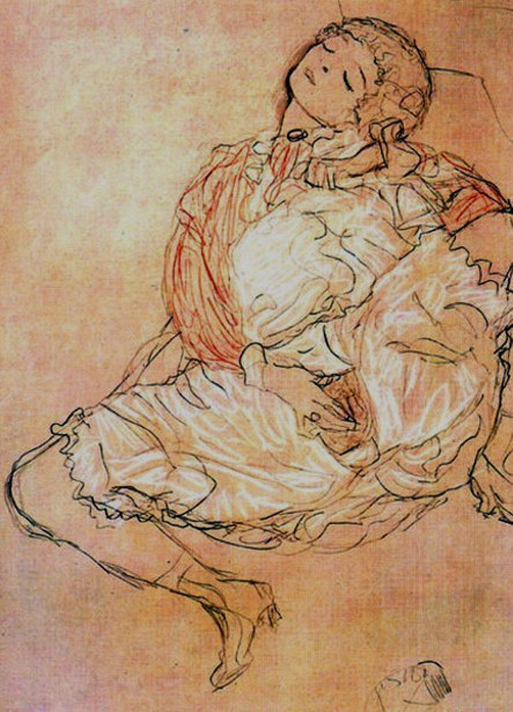 Gustav Klimt. Young girl masturbating 1913