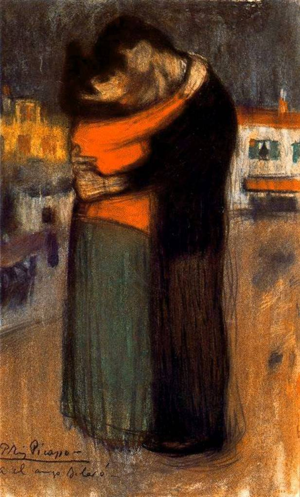 Pablo Picasso. The embrace in the street 1900