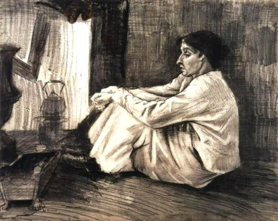 Vincent van Gogh. Sien with a cigar, sitting on the floor beside the fireplace