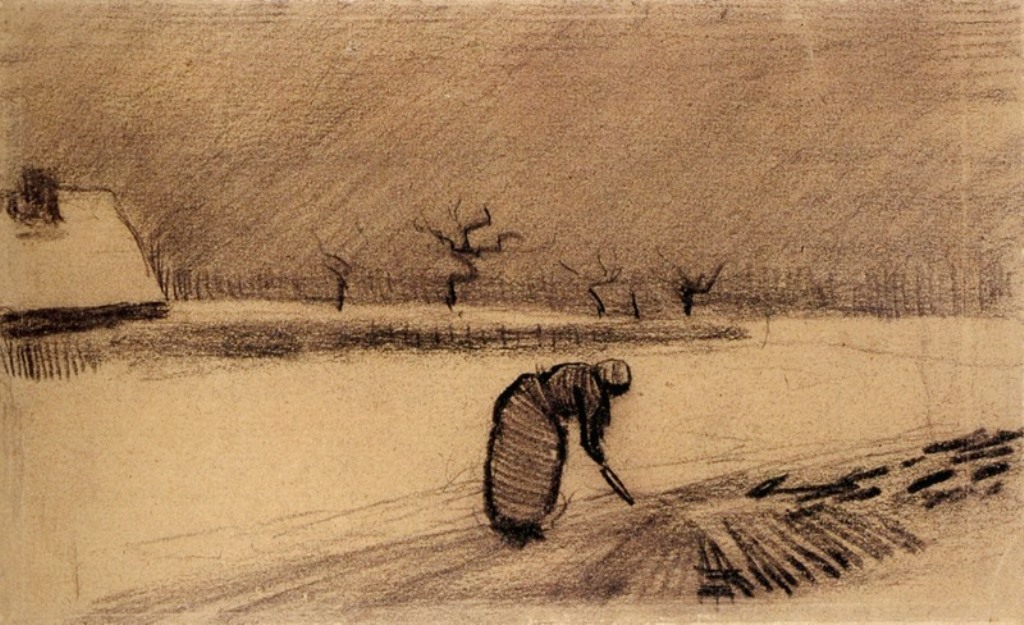 Vincent van Gogh. Woman with a fork in winter landscape 1883