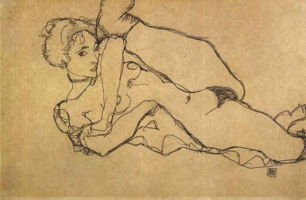 Egon Schiele. Liegender akt mit angezogenen linken bein 1914