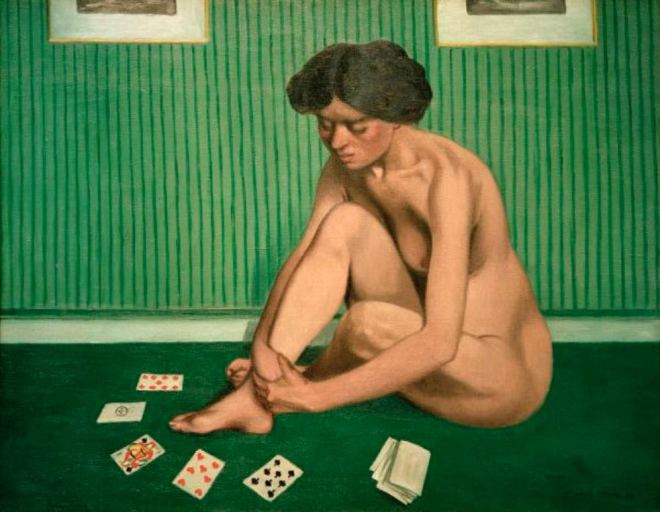 Félix Vallotton. Patience spielende frau 1912