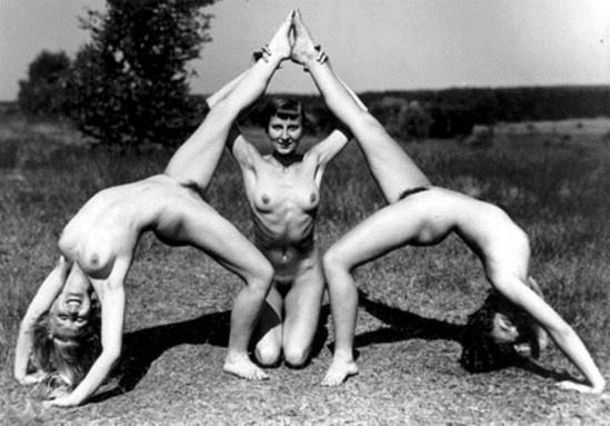 Gerhard Riebicke. Gymnastic Figure with Three Naked Persons. 1928. Via mamm