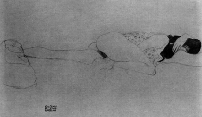 Gustav Klimt. Liegender weiblicher halbakt 1905