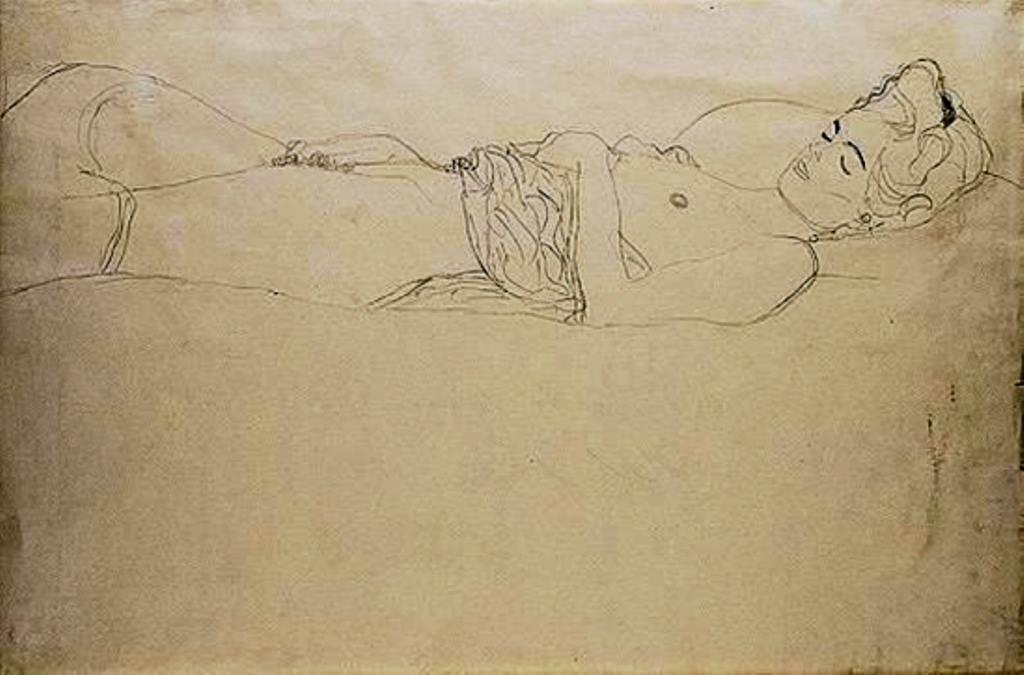 Gustav Klimt. Reclining nude