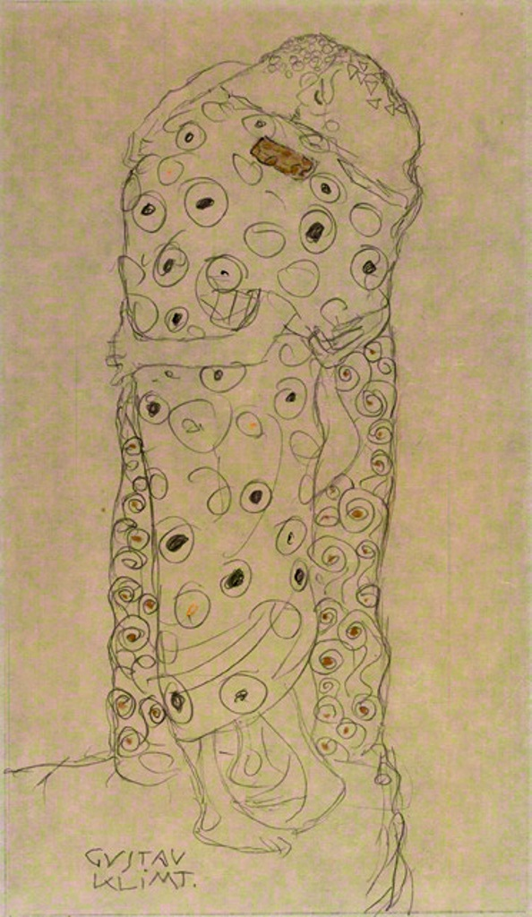 Gustav Klimt. Standing couple embracing (Study for The kiss) 1907–1908
