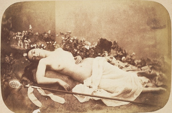 Jean Louis Marie Eugène Durieu. Reclining nude with scepter 1855. Via geh