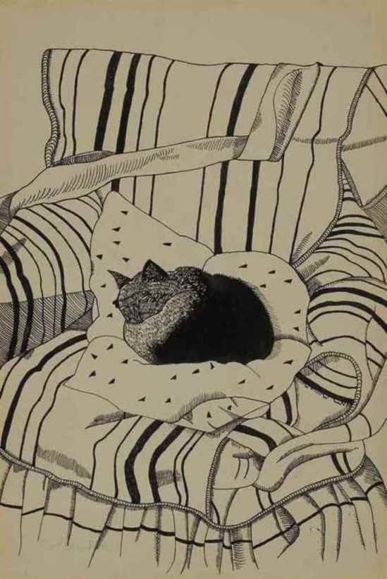 Lucian Freud. The Sleeping cat 1944