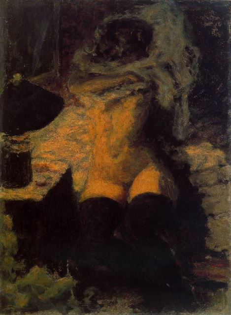 Pierre Bonnard. Nude with black stockings 1900