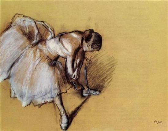 Edgar Degas. Dancer adjusting her sandel 1890