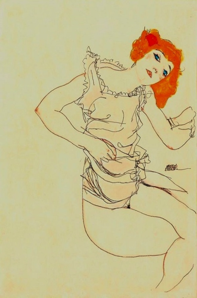 Egon Schiele. Blond girl in underwear 1913