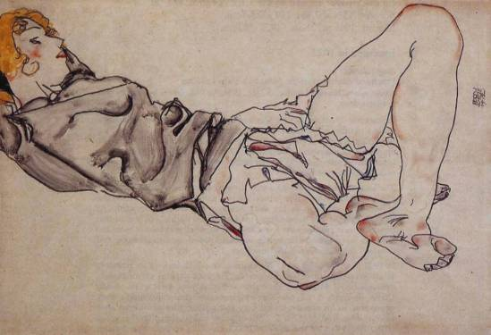 Egon Schiele. Femme aux cheveux blonds allongée 1912