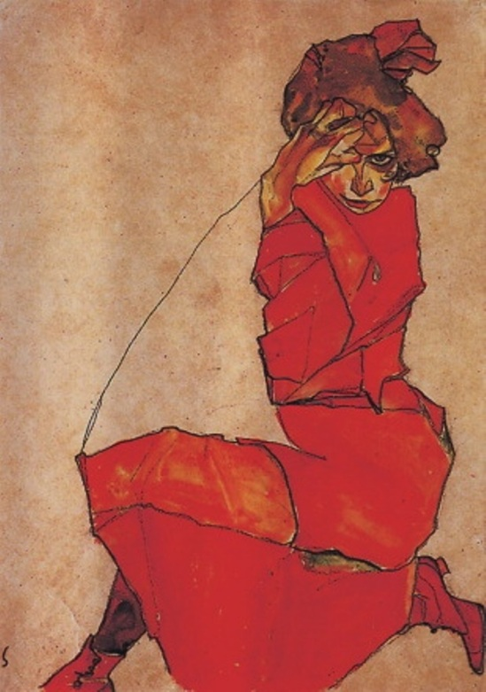 Egon Schiele. Kneeling girl in a red dress