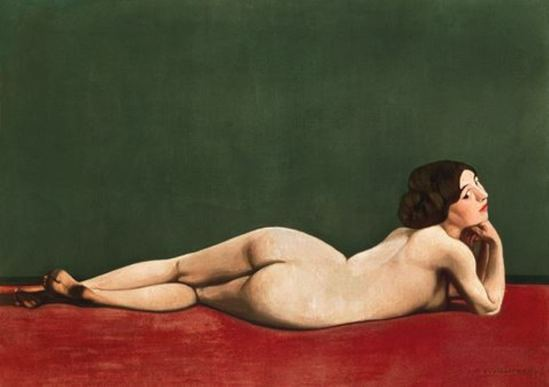 Félix Vallotton. Nude stretched out on a piece of cloth 1909