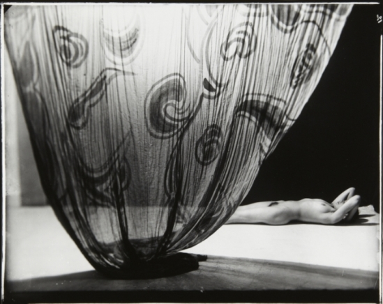 Frantisek Drtikol. Nude by patterned curtain. Via artmuseum