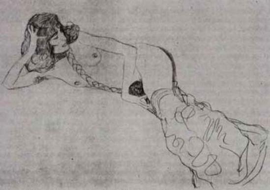 Gustav Klimt. Reclining woman 1905