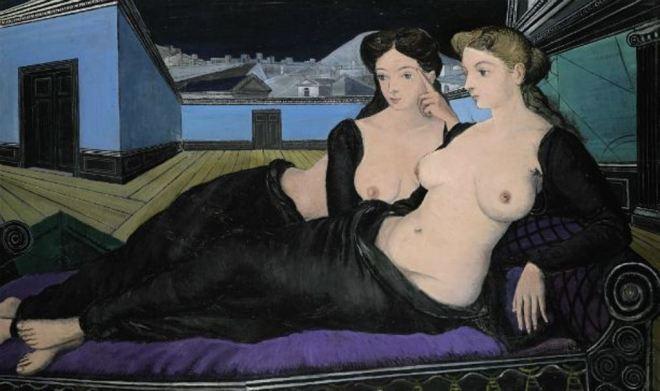 Paul Delvaux. Deux femmes couchées