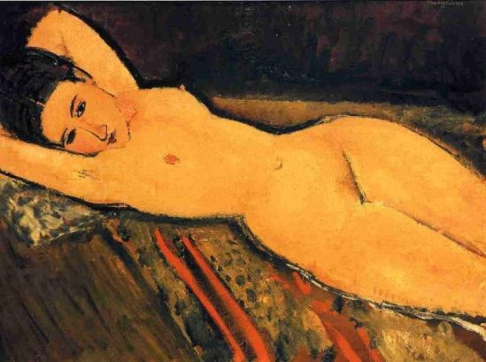 Amedeo Modigliani.  Reclining nude, arms folded under her head 1916