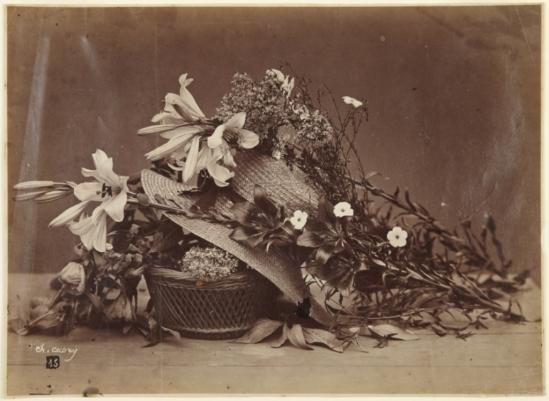 Charles Aubry. Still life with straw hat 1864. Via artmuseum
