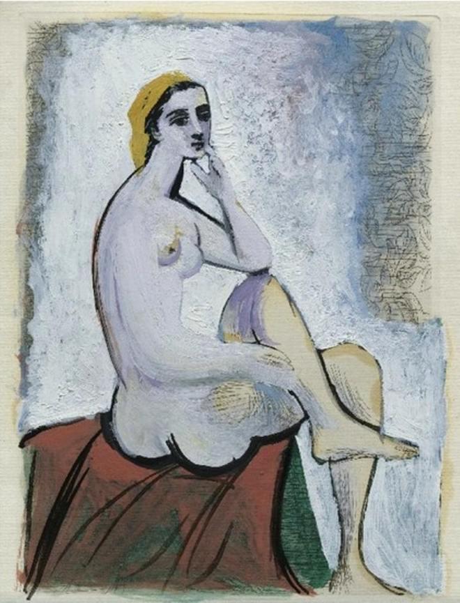 Pablo Picasso. Baigneuse au pouf rouge 1930
