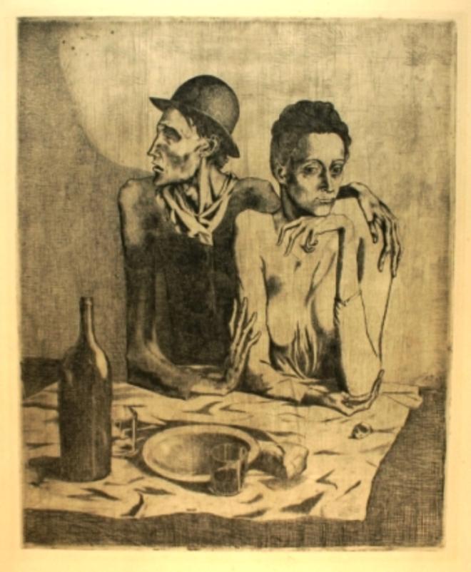 Pablo Picasso. Le repas frugal 1904. Gravure. Via amorosart