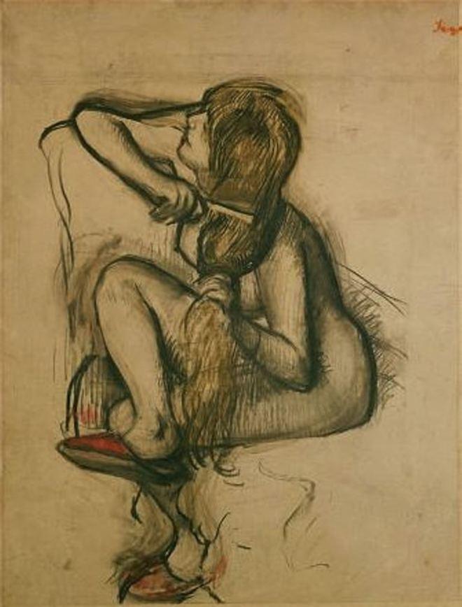 Edgar Degas. Femme se peignant les cheveux