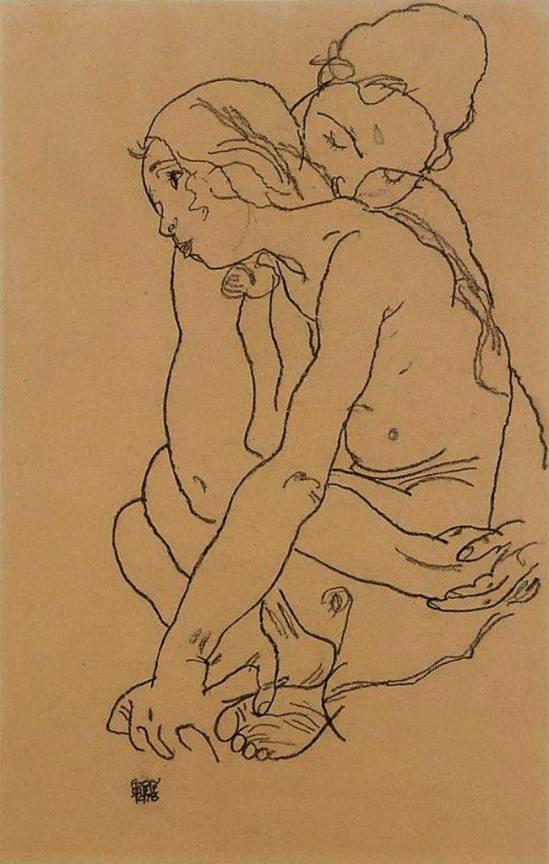 Egon Schiele.  Two women 1918