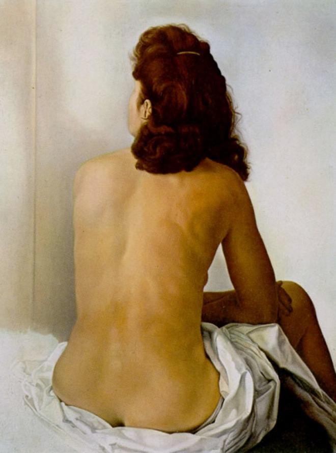 Salvador Dalí. Gala nude from behind looking in an invisible mirror 1960