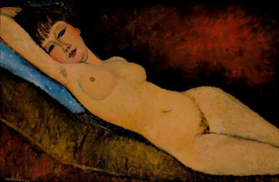 Amedeo Modigliani. Nu au coussin bleu 1916