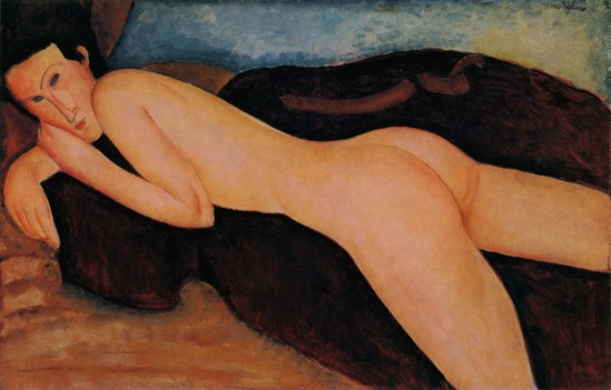 Amedeo Modigliani. Reclining nude from the back 1917