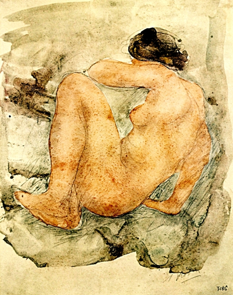 Auguste Rodin. Seated nude 1908
