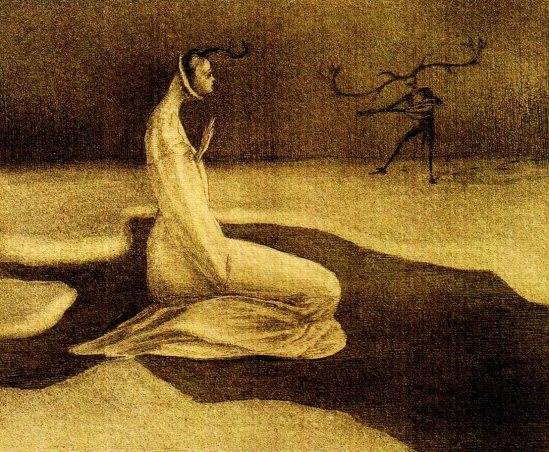 Alfred Kubin. Illustration for The White and the Black Bride by Brothers Grimm