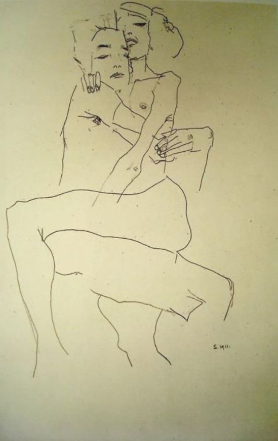Egon Schiele. Couple embracing 1911