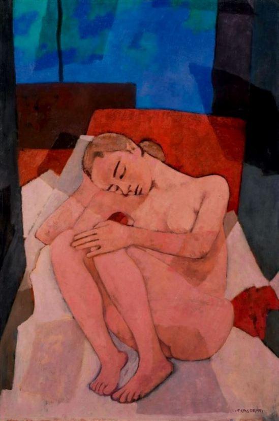 Felice Casorati. Nudo rosa accovacciato 1955