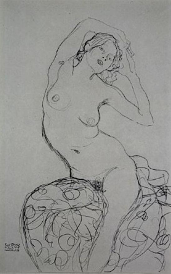 Gustav Klimt.       Seated nude from fünfundzwanzig handzeichnungen