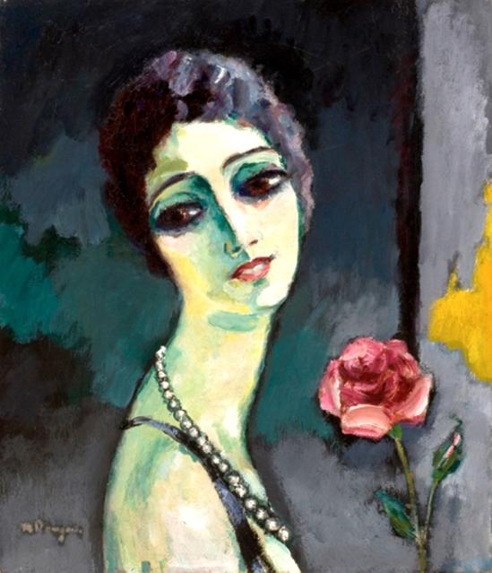 Kees Van Dongen. Portrait de Madeleine Grey à la rose 1929