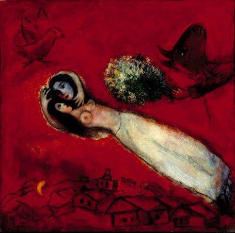 Marc Chagall.  Les Amants au ciel rouge 1950