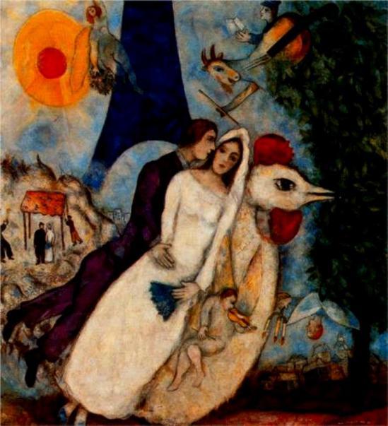 Marc Chagall. Les fiancés de la tour Eiffel 1913