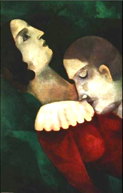 Marc Chagall. Lovers in green 1917
